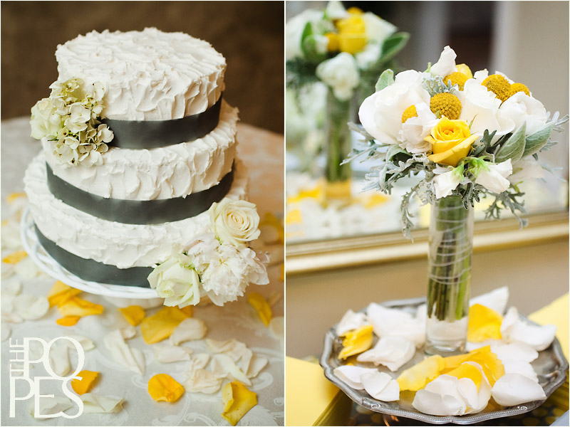 yellow and gray wedding cake lauren and ben