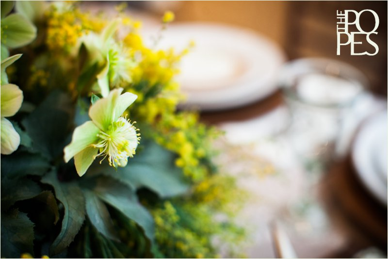 Yellow and green wedding flowers by Bella Rugosa