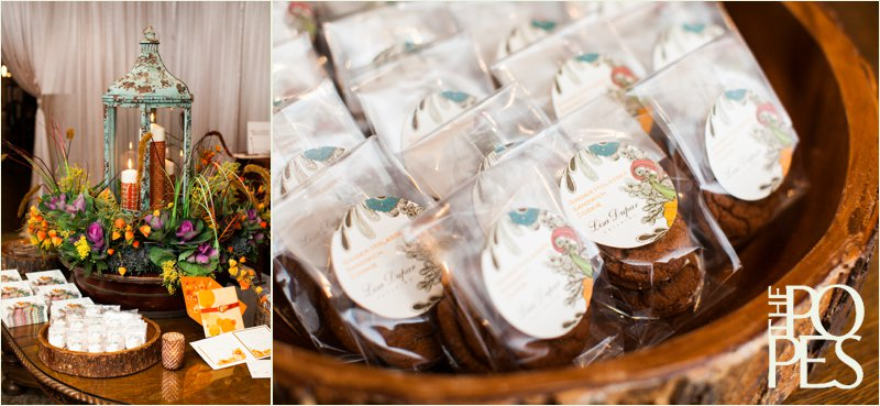 Fall wedding decor by Bella Rugosa with homemade cookie favors by Lisa Dupar.