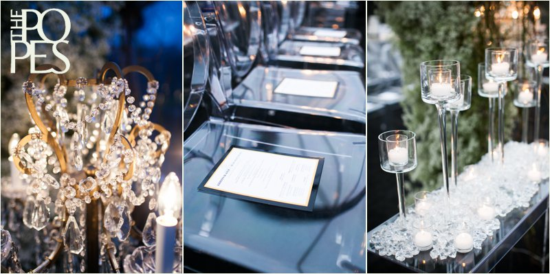 Clear chairs, candles and chandeliers by Bella Rugosa at Weddings in Woodinville