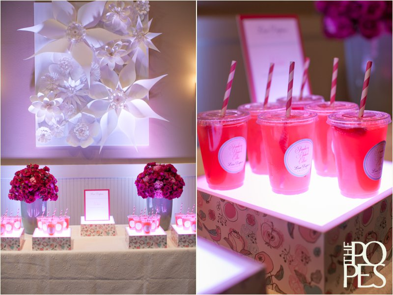 Pink drinks by Lisa Dupar Catering and paper wall art by Bella Rugosa.