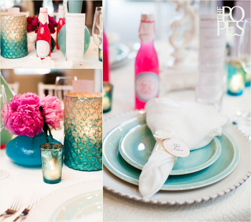 Pink and blue spring wedding table by Chambers & Co. and Bella Rugosa at Weddings in Woodinville.