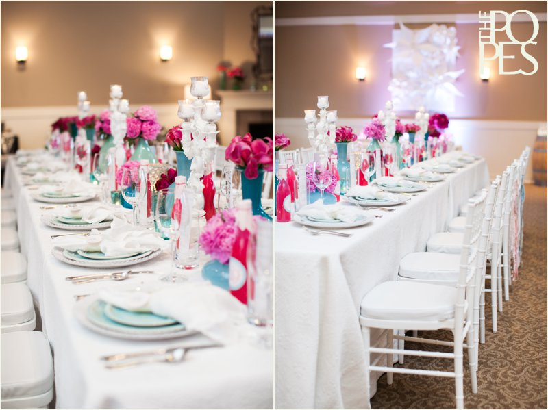 Pink and aqua blue summer wedding table with white chivari chairs, design by Bella Rugosa, Chambers & Co, AA Party Rentals.