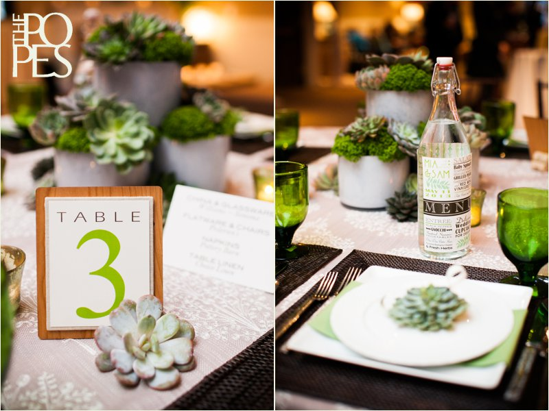 Stationary by Paper Moxie and succulent table arrangements by Bella Rugosa.