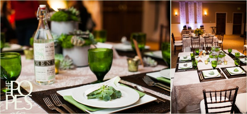 Vintage green glasses by Williams Sonoma and succulent wedding table design by Bella Rugosa. Photo by The Popes.