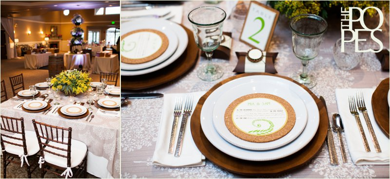Cork, yellow, green and brown tablescape by Bella Rugosa, Chambers & Co, Paper Moxie and more at Weddings in Woodinville. Photo by The Popes.