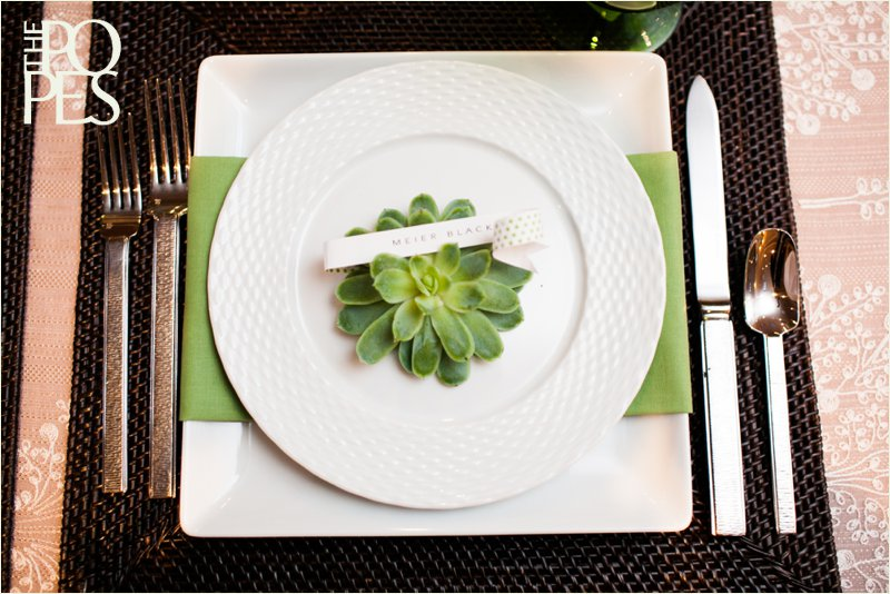 Green, white and dark brown wedding table decor with succulents.