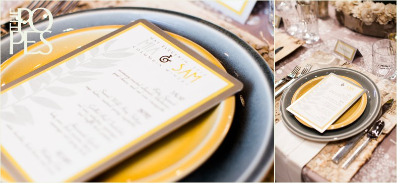 Yellow and gray wedding plates with metal menu by paper Moxie.