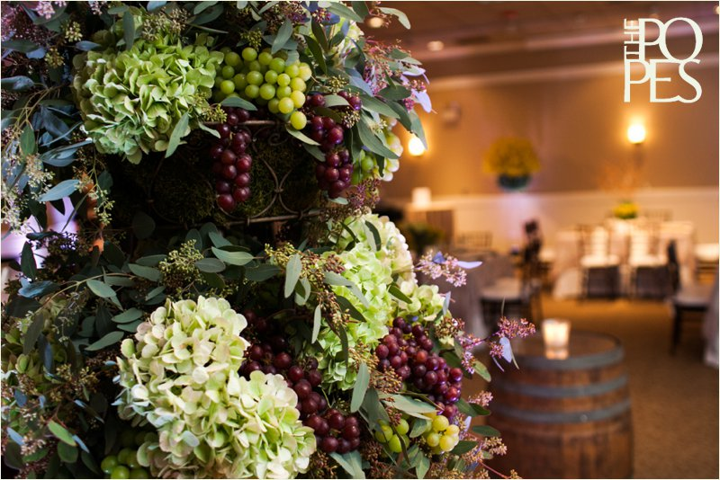 Grape and hydrangea centerpiece at Weddings in Woodinville by Bella Rugosa.