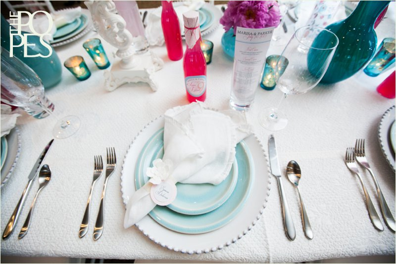 Fun pink, blue and white summer wedding - decor by Chambers & Co, Bella Rugosa and Paper Moxie. Photo by The Popes.