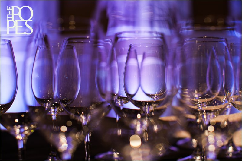Wine Glasses at Columbia Winery in Woodinville with purple uplighting by Sounds Unlimited