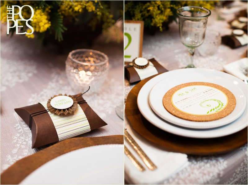 Cork menu and brown ribbon wedding favor by Paper Moxie.