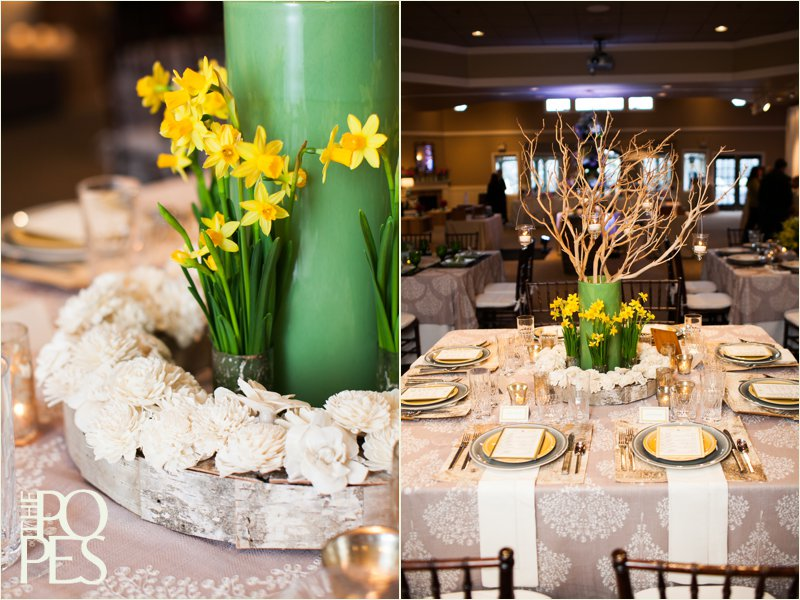 Birch, gray and yellow tablescape with daffodils and wooden flowers by Bella Rugosa, Chambers & Co, Paper Moxie and more at Weddings in Woodinville. Photo by The Popes.