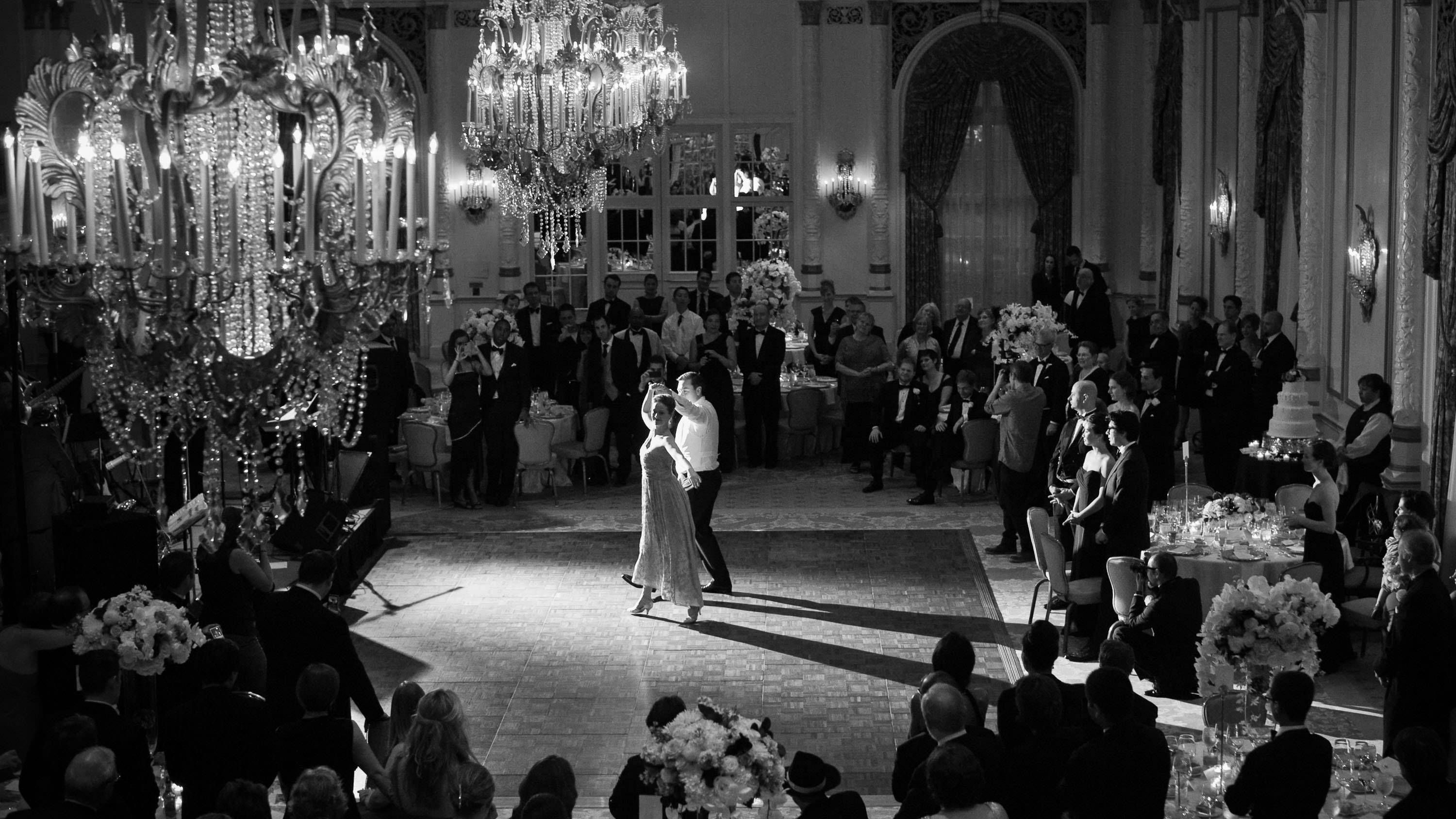 Bride and Groom first dance in a ballroom
