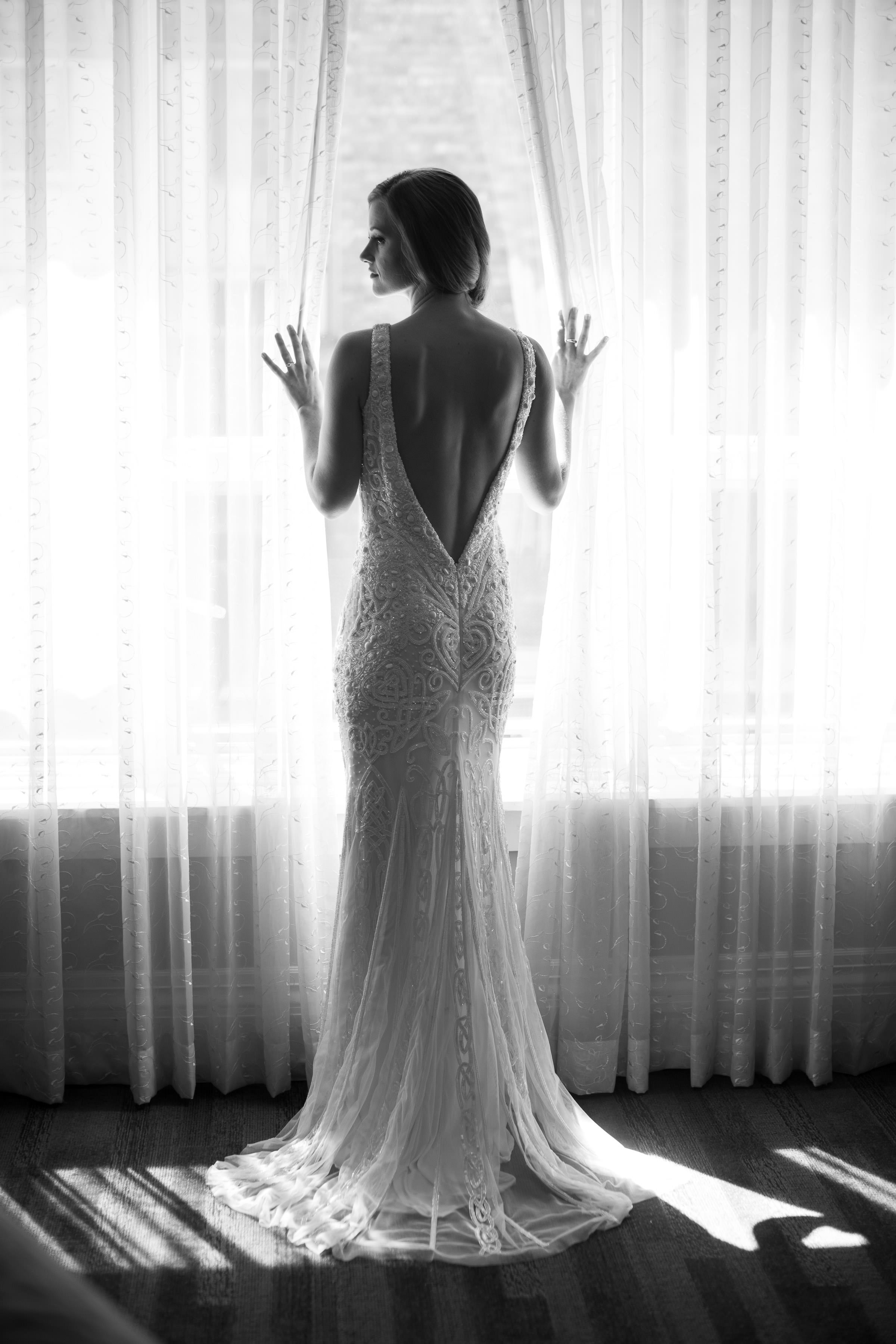 bride facing window